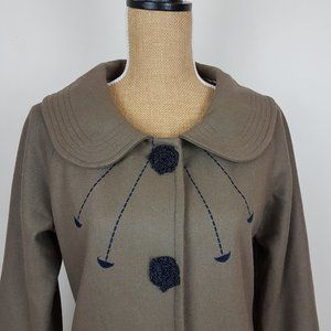 Marc Jacobs Olive Green Wool Coat.